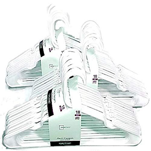 Mainstay 18-Pack Standard Plastic Hangers (White, 3 Pack)