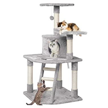 Yaheetech 48in Cat Tree Tower with Spacious Condo, Cozy Platform and Replaceable Dangling Balls
