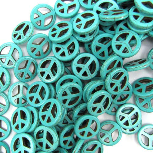 "ShopForAllYou Design Making 20mm Blue Turquoise Peace Sign Coin Beads 16"" Strand"