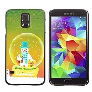 YOYO Slim PC / Aluminium Case Cover Armor Shell Portection //Christmas Holiday Snowman In Snowglobe 1163 //Samsung Galaxy S5