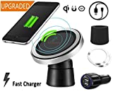 Fast Wireless Charger Car Qi Quick Charging Pad Anti Slip Magnetic Air Vent Phone Holder Mount for iPhone X 8 Plus and Galaxy Note 5 6 8 S6 S7 Edge Plus S8, LG G3 G4 G6 GOOGLE NEXUS 4 5 and Qi Devices