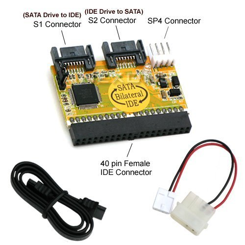 BIPRA Bi-Directional IDE/SATA Converter (Connect IDE Drive to SATA Motherboard or SATA Drive to IDE -