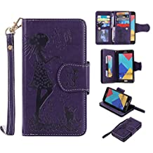 Galaxy A5 2016 Wallet Case,XYX [9 Card Slot Series] Wallet Folio PU Leather Case Cover With Makeup Mirror and Wrist Strap Case for Samsung Galaxy A5 2016 [Purple]