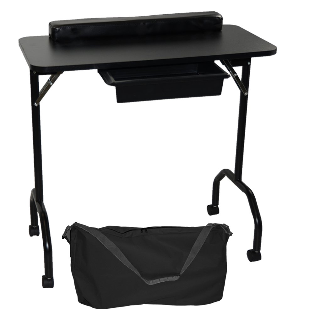LCL Beauty Black Portable Folding 1-Drawer Manicure Table with Client Wrist Pad and Free Carrying Case by LCL Beauty