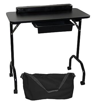 LCL Beauty - Mesa de manicura plegable portátil con 1 cajón y ...