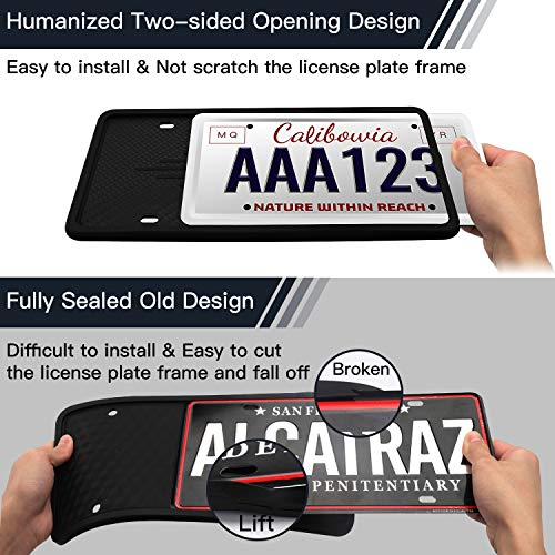 Intermerge License Plate Frame Universal American Auto License Plate Holder Rust-Proof Rattle-Proof Weather-Proof with 3 Drainage Holes Black Silicone License Plate Frame Cover Black-1Pack