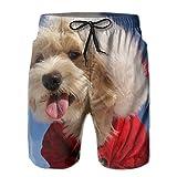 Leisue Christmas Hat Tongue Maltese Havanese Dog Quick Dry Beach Shorts Man Swimsuit