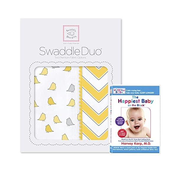 SwaddleDesigns SwaddleDuo, Set of 2 Swaddling Blankets + The Happiest Baby DVD Bundle, Yellow Chic Chevron Duo