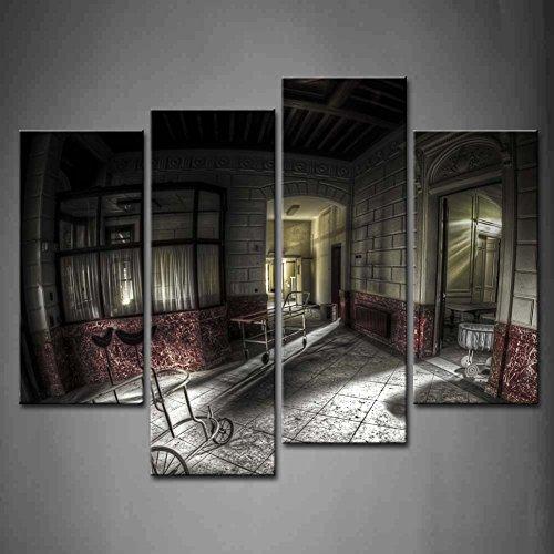 4 Panel decorativo abandonado Hospital Pasillo Antiguo andador y ...