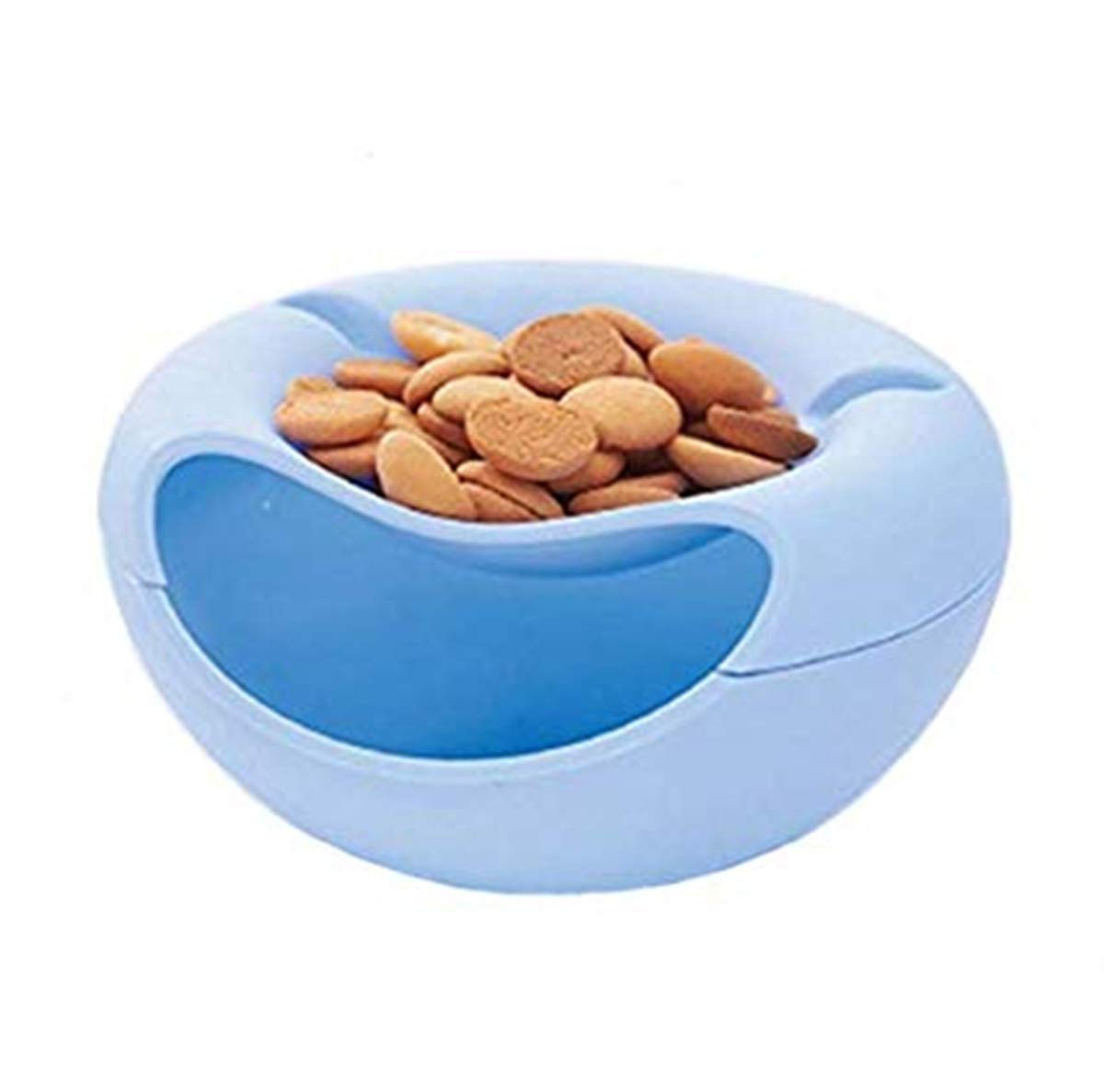cacahu/ètes double /Écrou Bol avec support pour t/él/éphone portable logement Graines de tournesol Service pour Pistache Snack Bol plat Edamame bleu