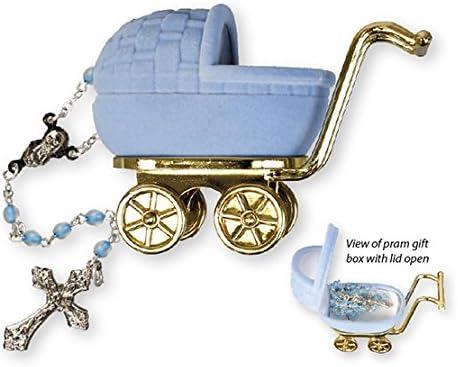 Cross My Heart Pram 6103 - Rosario de Cristal para bebé, diseño de bebé, Color Azul