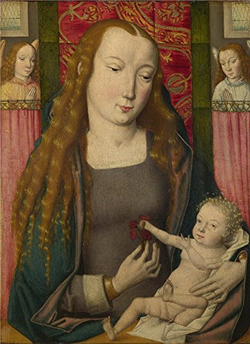 Oil Painting 'Follower Of The Master Of The Saint Ursula Legend (Bruges) - The Virgin, Child With Two Angels,about 1490' 16 x 22 inch / 41 x 56 cm , - Urban Aviators Outfitters