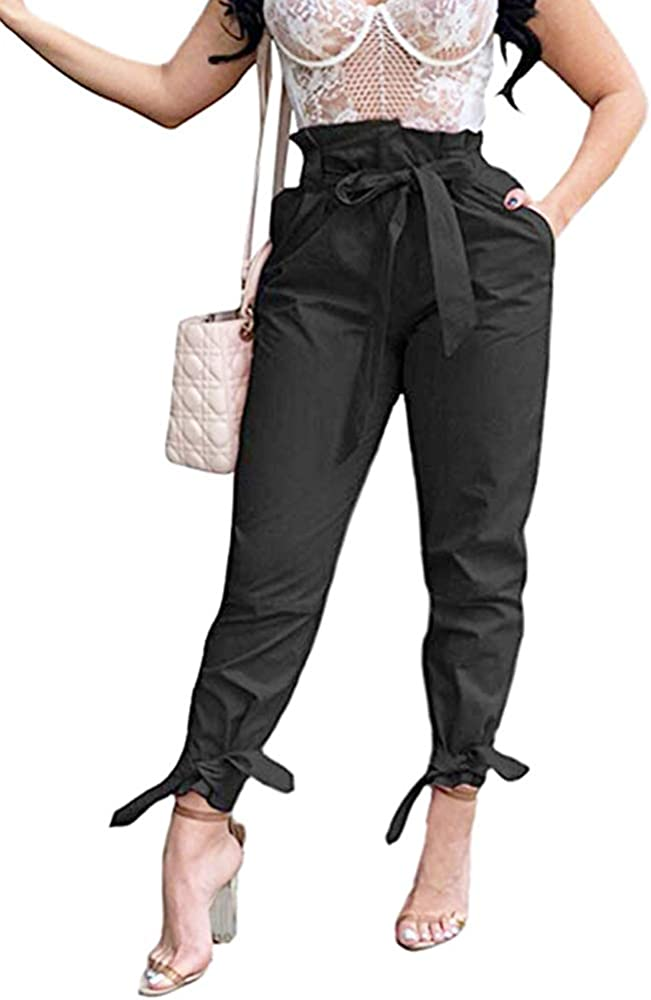 Yissang Women's Casual Loose Paper Bag Waist Long Pants Trousers with Bow Tie Belt Pockets