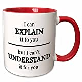 3dRose mug_223759_5 'I Can Explain It To You But I Cant Understand It For You black' Two Tone Red Mug, 11 oz, Red/White