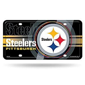 """NFL Pittsburgh Steelers """"Circle"""" Metal Auto Tag, Black by Rico Industries, Inc."""