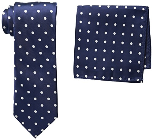 Stacy Adams Men's Satin Dot Tie Set, Navy, One Size