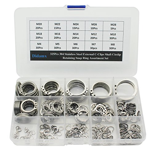 (Didamx 325Pcs 304 Stainless Steel External C-Clips Shaft Circlip Retaining Snap Ring Assortment Set)