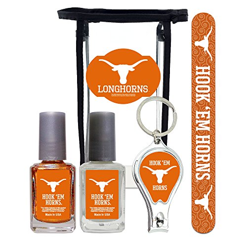 Texas Longhorns Manicure Pedicure Set with 7-Inch Nail File, Nail Clippers, 2 Nail Polishes in Team Colors, and Toiletry Bag for the Whole Kit. NCAA Gifts and Gear for Women