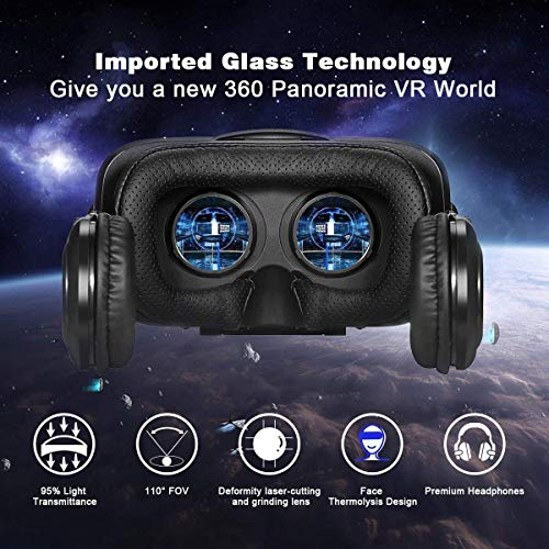 VR Headset,3D Virtual Reality headsets with Remote Controller 3D VR Goggles with Stereo Headphone for 3D Movies & VR Games, Fit for 4.7-6.2 inch iOS/Android Smartphone by ATXXY (Image #4)
