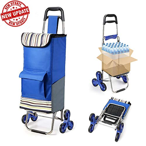 Folding Shopping Cart Extended Handle Stair Climbing Cart with Quiet Rubber Tri-Wheels Grocery Foldable Utility Cart with Upgraded Bottom Platform to Prevent Sagging