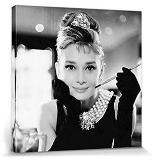Leinwandbild 120x80cm auf Keilrahmen audrey hepburn,promi,schwarz,weiß,film