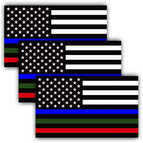 Anley 5 X 3 inch Thin Line US Flag Decal - Reflective Blue Green Red Stripe American Flag Car Bumper Stickers - Support Police Military Fire Officers (3 Pack) -
