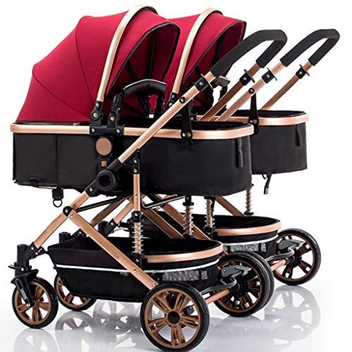 Double Strollers, Baby Pram Tandem Buggy Newborn Pushchair with Adjustable Backrest & Footrest,Detachable, Bearing 15kg (Color : A, Size : EVA Four Wheel)