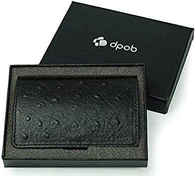 Black DPOB Ostrich Grain Leather Business Card Cases//ID Case with Magnetic Shut Leather Business Card Holder