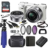 Sony Alpha a6000 Mirrorless Digitial Camera 24.3MP SLR Camera with 3.0-Inch LCD (White) w/ 16-50mm Power Zoom Lens + Sandisk Memory + Filters + Camera Deluxe Case + Accessory Bundle