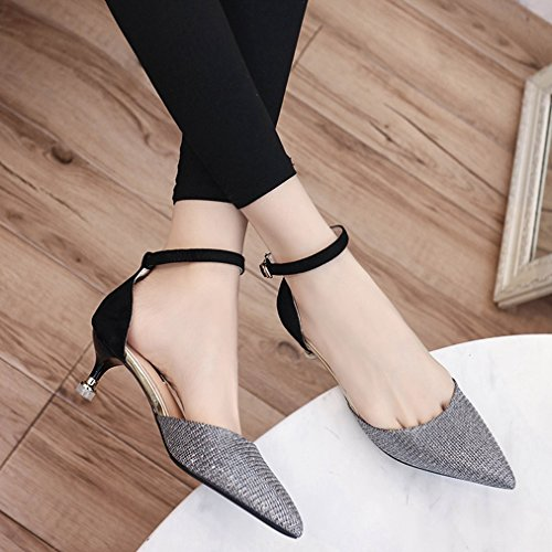 Womens Strap JULY Heel Sequins Pumps Shoes Sandals Close Sparkle Dressy Stilettos Glitter Toe with Ankle Buckle T Silvery gCfq5f