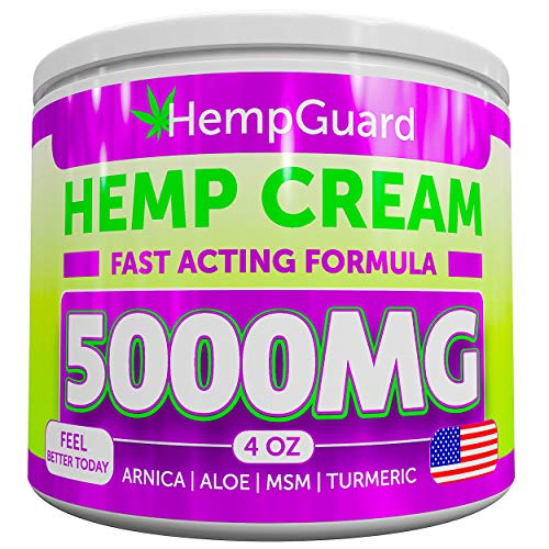 (Hemp Pain Relief Cream - 5000 MG - Made in USA - 4OZ - Relieves Muscle, Joint Pain - Lower Back Pain - Inflammation - Hemp Oil Extract with MSM - EMU Oil - Arnica - Turmeric )