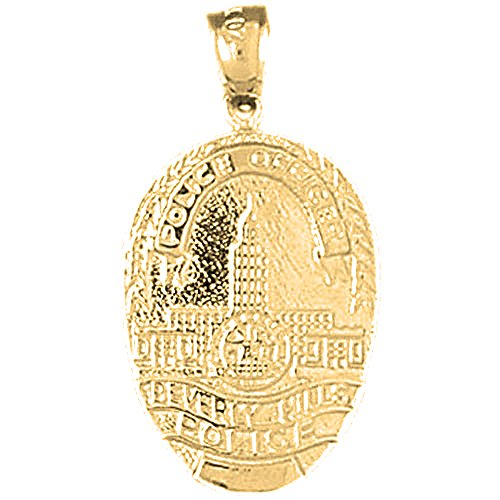18K Yellow Gold Beverly Hills Police Pendant - 30 mm Beverly Hills Gold Jewelry