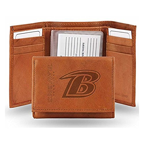 Baltimore Ravens Brown Leather - NFL Baltimore Ravens Leather Trifold Wallet with Man Made Interior
