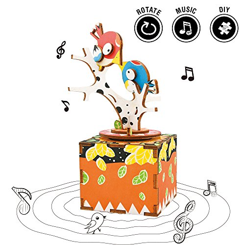 Rolife Hand Crank Music Box Machinarium-DIY Wood Craft Kit-3d Wooden Puzzle-Creative Gift Boys Girls When Christmas/Birthday/Valentine's Day (Song Bird Tree) -
