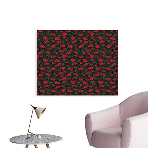 J Chief Sky Red and Black Girls Wall Art Canvas Prints Rose Swirls Ivy Plants Dark Mysterious Forest Themed Pattern Wall Art Living Room Decoration W36 xL32 ()