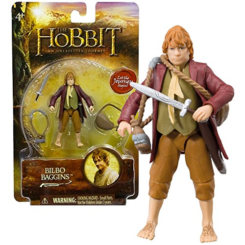 """Bridge Direct Year 2012 The Hobbit Movie Series """"An Unexpected Journey"""" 3 Inch Tall Action Figure - BILBO BAGGINS with Bag, Bottle Carrier and Sword"""