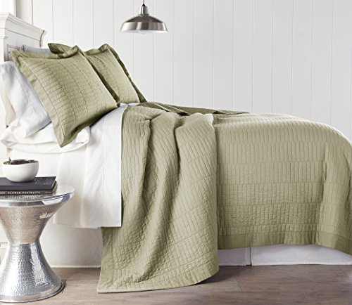 Chezmoi Collection Yuma 3 Pieces Modern 100%-cotton Pre-Washed Soft-Finished Quilt Set (King, (Khaki Green Color)