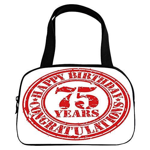 iPrint Vogue Small Handbag Pink,75th Birthday Decorations,Aged Worn Display of a Grunge Rubber Stamp Congratulation Theme,Red White,for Girls,Diversified Design.6.3
