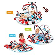 Yookidoo Baby Gym And Play Mat - 3 Stage Accessory Gym With Motorized Robot Track - 20 Development Activities