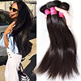 Klaiyi Hair Malaysian Straight Virgin Hair 3 Bundles Unprocessed Human Hair Extensions Weave Natural Color (18 20 22)