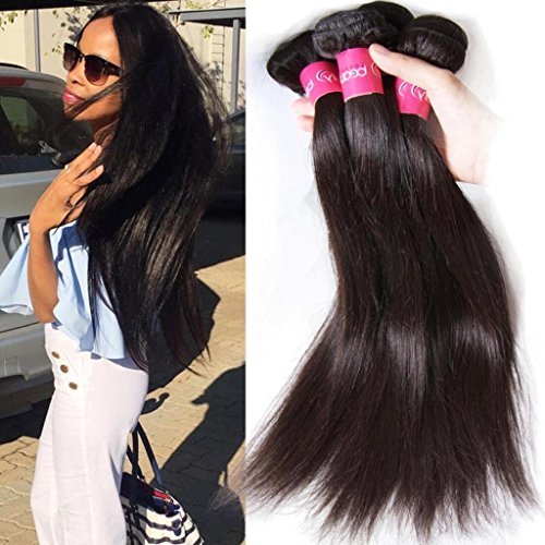 Klaiyi Hair Malaysian Straight Virgin Hair 3 Bundles Unprocessed Human Hair Extensions Weave Natural Color (18 20 22) by KLAIYI