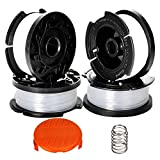 """Senrob 4 Pack Line String Trimmer Replacement Spool with Trimmer Cap and Spring 30ft 0.065"""" Autofeed for Black and Decker String Trimmer"""