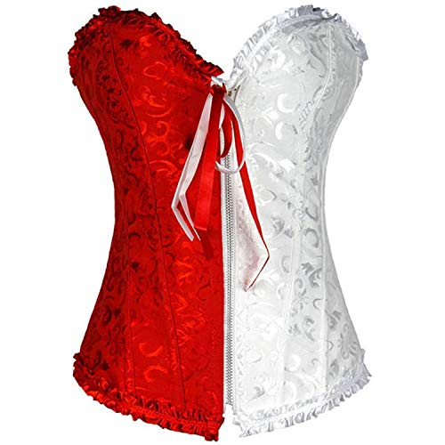 LOKOUO underwear New Sexy Lace Back and Red Corset Two Toned Harley Quinn Floral Jester Overbust,Red,XL ()