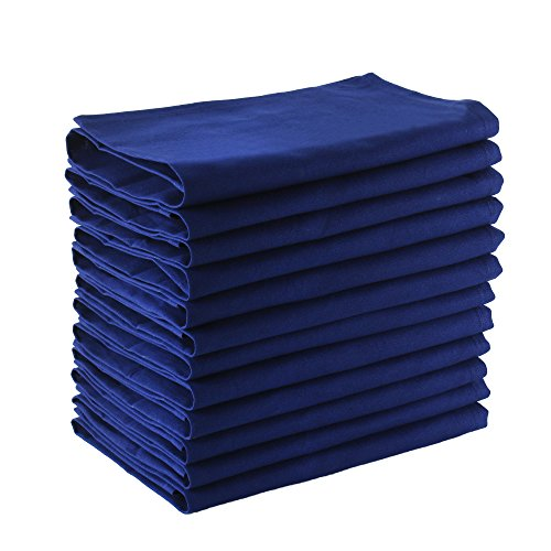 DG COLLECTIONS Cotton Dinner Napkins Navy, Set of 12 (20 x 20 Inches), Over Sized, Embroidery and Print, Lint Free, Quick Dry, Hemmed with Mitered Corners ()