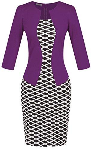 U-shot Ladies 'color bloque Formal Wear a trabajo banquete lápiz Wiggle Vestido Estilo 5