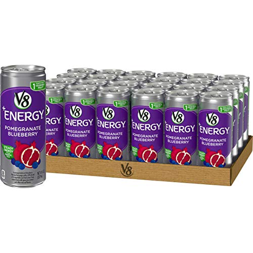 V8 +Energy, Juice Drink with Green Tea, Pomegranate Blueberry, 8 oz. Can (Pack of 24)