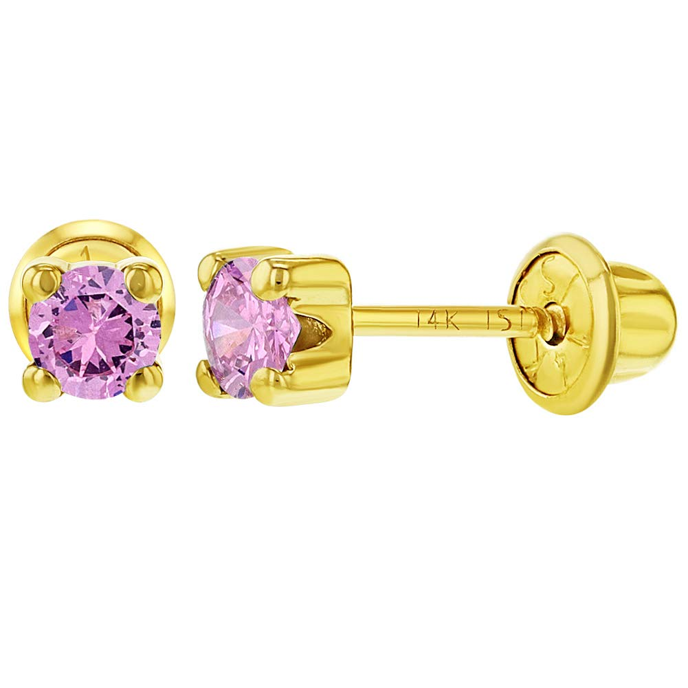 14k Yellow Gold Pink CZ Prong Set Solitaire Screw Back Earrings for Girls 4mm In Season Jewelry YG-03-P0008