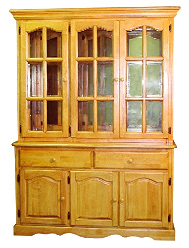 Sunset Trading Treasure Buffet and Lighted Hutch, Light Oak - Cabinet China Traditional