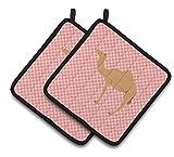 Caroline's Treasures BB7817PTHD Arabian Camel Dromedary Pink Check Decorated Pot Holder, 7.5'' x 7.5'', Multicolor