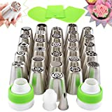Russian Piping Tips Set - 59-pc Russian Icing Tip Cake Cupcake Decorating Kit - Large Frosting Tips, Leaf Tip, Couplers, Piping Bags, Russian Flower Tips Chart, Cake Icing Tools, eBook, Storage Case